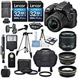 Nikon D3300 24.2MP CMOS Digital SLR Camera with AF-S DX NIKKOR 18-55mm f 3.5-5.6G VR II Lens - HD 52mm Wide Angle Lens - HD 52mm Telephoto Lens - 32GB Class10 SDHC and Accessory Kit - Black