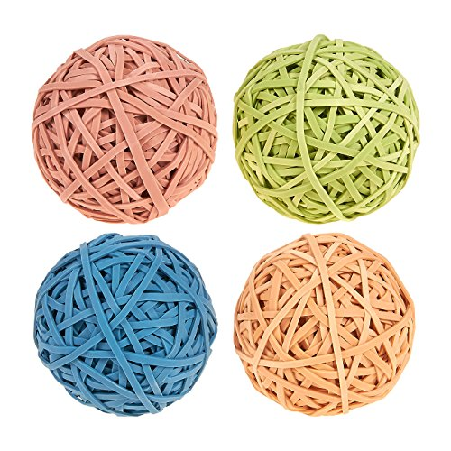 Set of 4 Colorful Rubber Bands - Elastic Rubber Bands Pack, Rubber Band Balls for DIY, Arts and Crafts, Document Organizing, Pink, Blue, Tan, Lime Green Colors