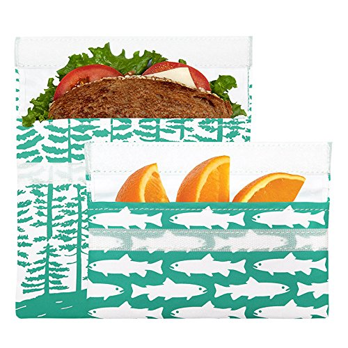 Lunchskins Reusable 2-Pack Velcro Bag Set, Calypso Forest (1 Sandwich + 1 Snack)