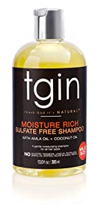 tgin Moisture Rich Sulfate Free Shampoo For Natural Hair - Dry Hair - Curly Hair - 13 Oz
