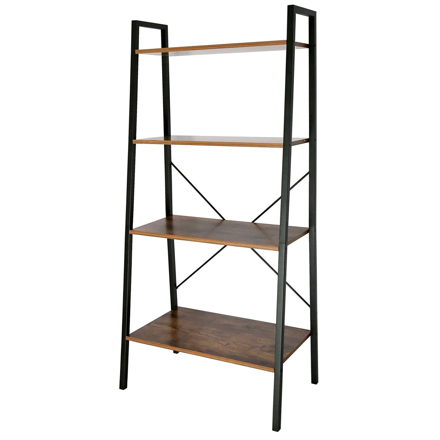 IRONCK Bookshelf, 4-Tier Ladder Shelf with MDF Board and Stable Thick Metal Frame, Stable and Durable High Resistance to Scratch Storage Shelves for Home, Office, Bathroom, Living Room