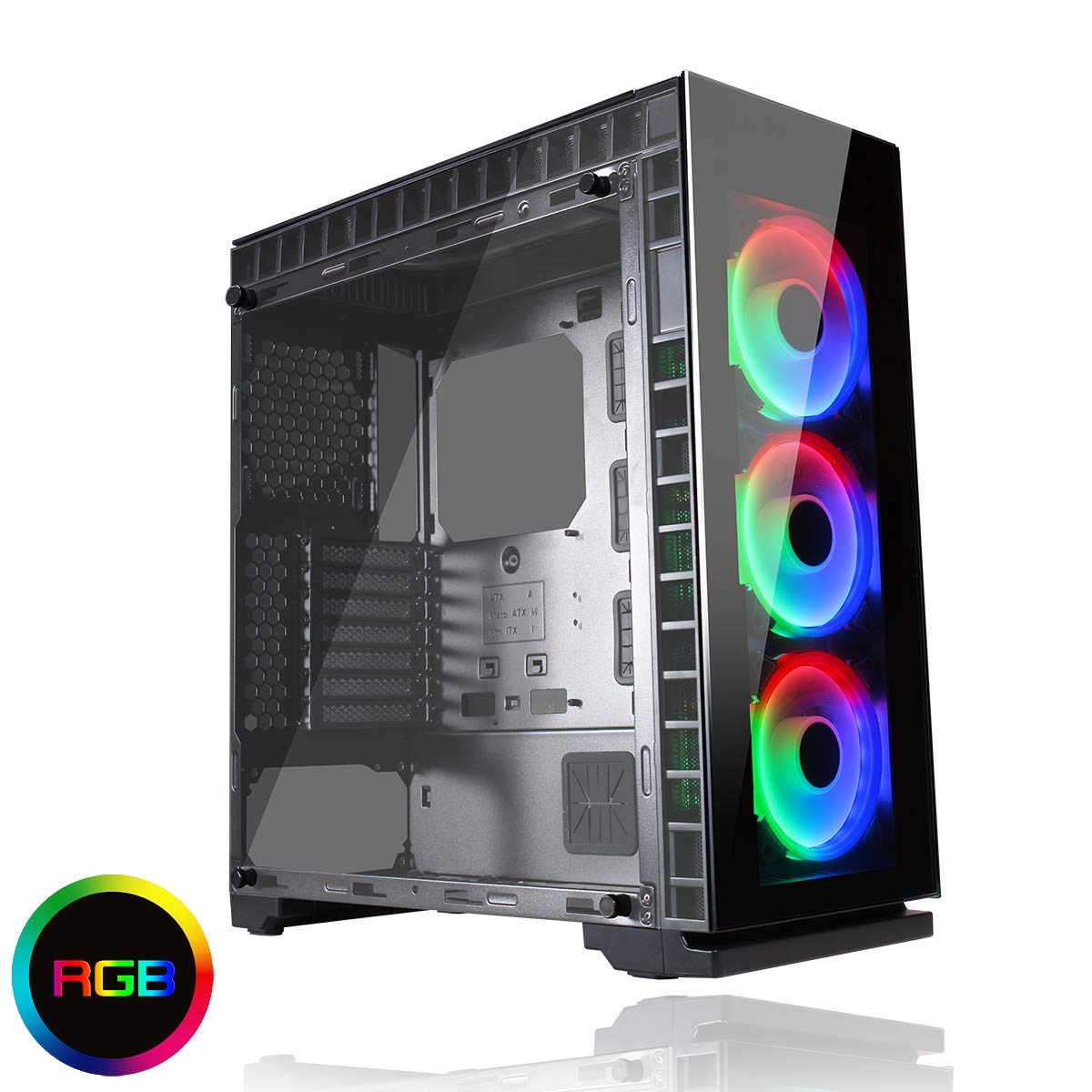 Game Max Spectrum PC Gaming Case Mid-Tower ATX RF Remote Controller RGB Hub Tempered Glass Game with Style Black Water-Cooling Ready 3 x 120 mm Halo Single Ring Spectrum Ventiladores incluidos