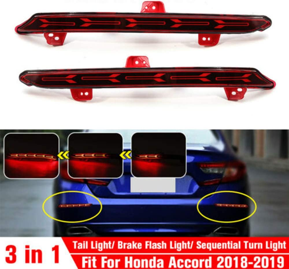 1 Pair LED Rear Bumper Reflector Brake Tail Light Signal Lamps for Honda Accord 2018-2019 Bumper Reflector Tail Lights Fishbone