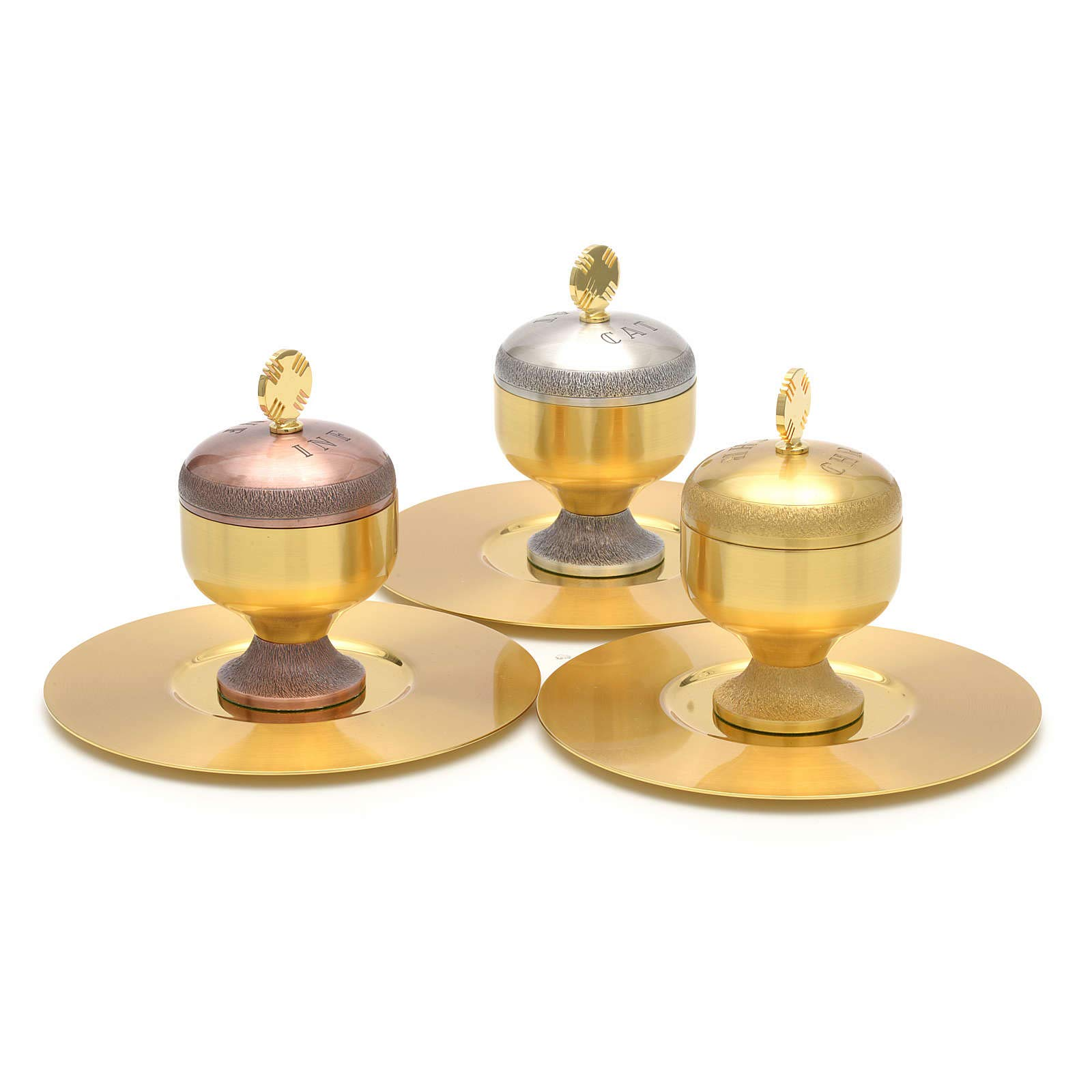 Holy Oils: Stocks in Gold Plated Brass with a Saucer, Catechumens by Holyart (Image #4)