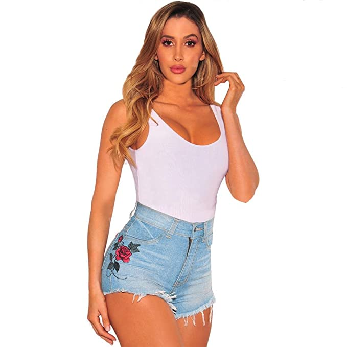 280ee6124d74 TWIFER Frauen Sommer Blume hoch Taillierte Jeans Shorts Hot Pants Strand  Hosen