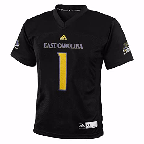 ed0c2f35f adidas East Carolina Pirates NCAA Black Official Home  1 Replica Football  Jersey for Youth (
