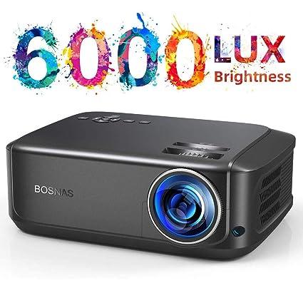 BOSNAS Proyector 6000 Lúmenes Proyector Full HD Soporta 1920 x 1080P Proyector Cine en Casa Sonido Hi-Fi Proyector LED 70000 Horas Bajo Ruido Video ...