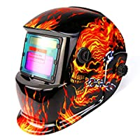 DEKOPRO Welding Helmet Solar Powered Auto Darkening Hood with Adjustable Shade Range 4/9-13 for Mig Tig Arc Welder Mask Shield Flaming Skull Design