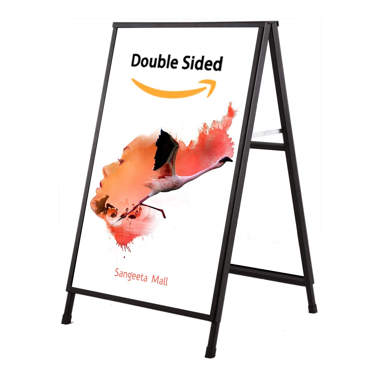 [Upgraded] A Frame Sidewalk Sign for Posters, Double Sided, Metal Frame Sandwich Board Signs 24x36 Inch, 2 Corrugated Plastic Included by Starrier