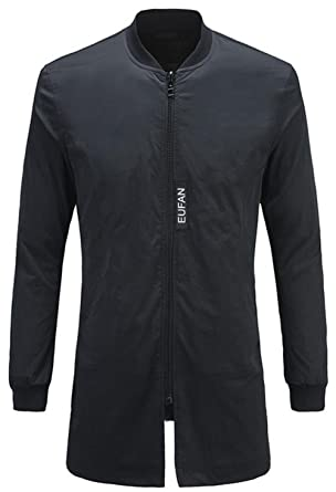 JZWXX Herren Frühling Herbst Licht Leichte Jacken Classics Long Bomber  Jacket Urban Jacke Mantel Mäntel ( 40efce8522