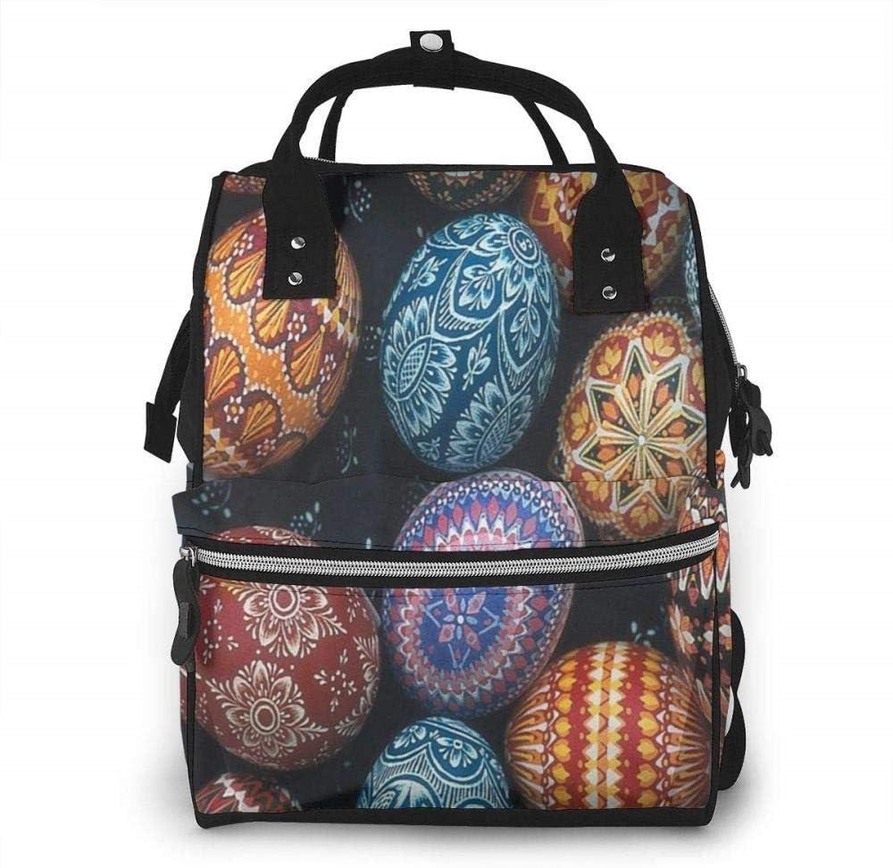 Feliz Pascua colorido huevo bolsa de pañales mochila impermeable multifunción bebé cambiador bolsas de maternidad bolsas de pañales durable gran capacidad para mamá papá viaje bebé cuidado