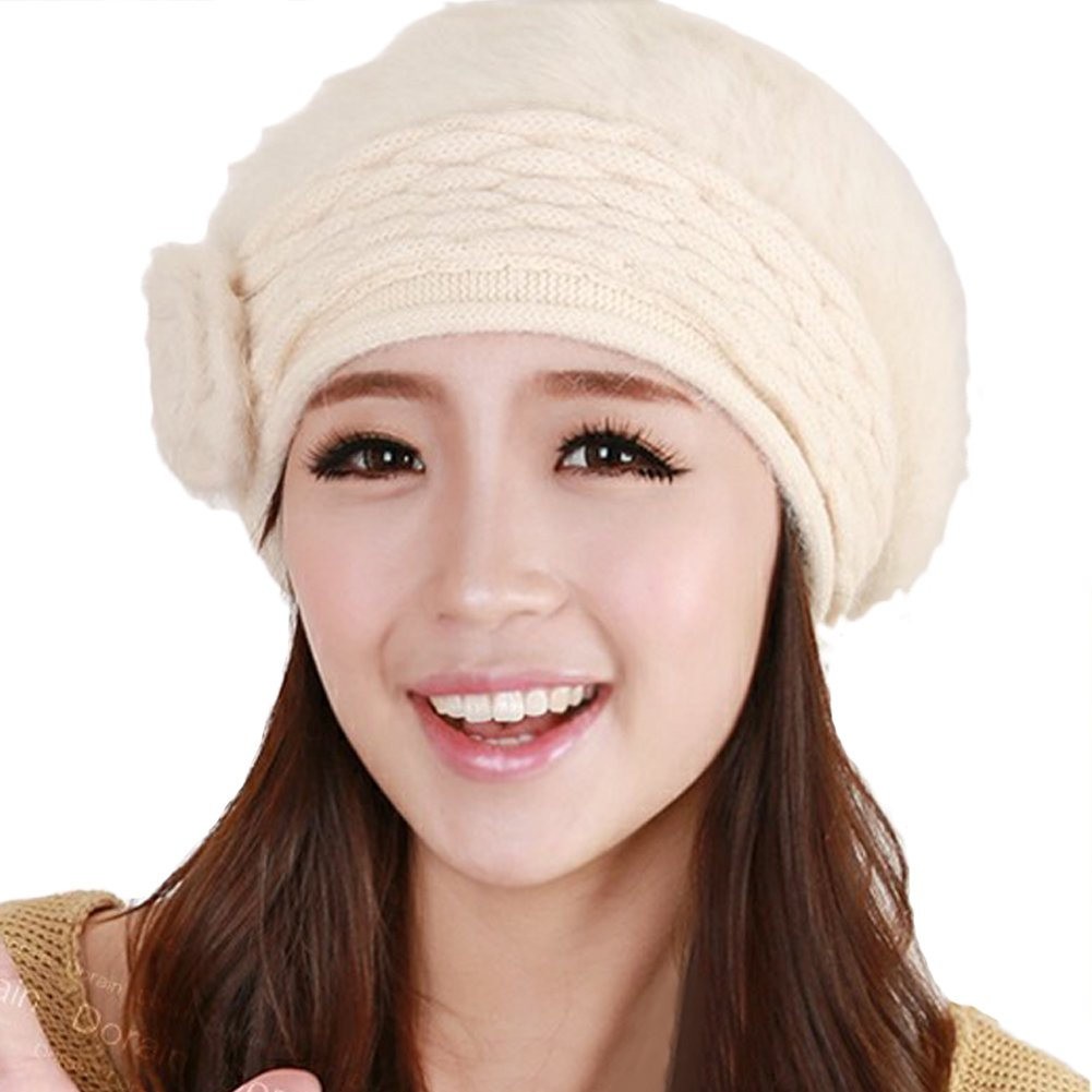 Queenshiny Women's Super Soft Angora Classic Flower Knitted Beanie Cap Hat-Beige