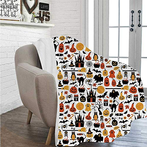 Philadelphia Halloween October 31 (YOLIYANA Halloween Soft Print Thin Blanket,Halloween Icons Collection Candies Owls Castles Ghosts October 31 Theme Decorative for Living)