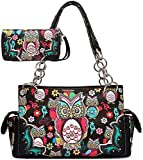 Cowgirl Trendy Colorful Owl Art Carry Concealed Handbag and Wallet-Black