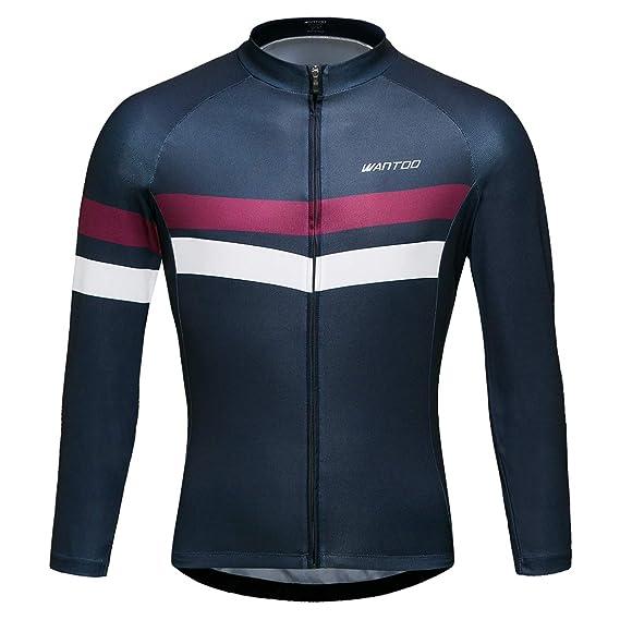Amazon.com   Wantdo Men s Long Sleeve Cycling Jerseys Bike Biking Shirt  Breathable Quick Dry Road Mountain Bicycle Jacket   Sports   Outdoors 33758ef1b