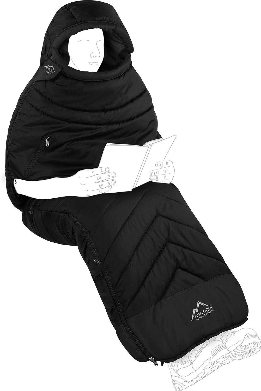 und Bein/öffnungen und W/ärmekragen 3D High Insulation Loft H4-300 bis Minus 9/°C Grad Premium Biwack-Schlafsack wasserdicht mit EXTRA Arm