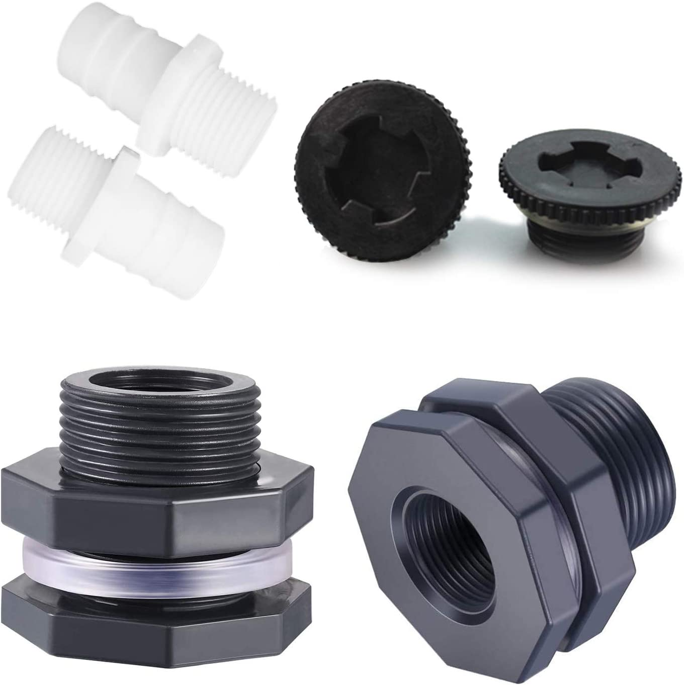 2 Pieces of 3/4 Inch PVC Next-door Accessories, Rain Bucket Garden Faucet Kit, Partition Mounting Adapter, with Plugs, for Aquariums, Water Tanks, Bathtubs, Sinks (Gift Two Water Pipe Connections)