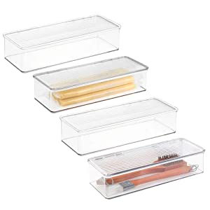 mDesign Stackable Kitchen Pantry Cabinet/Refrigerator Food Storage Container Bin, Attached Lid - Organizer for Packets, Snacks, Produce, Pasta - 4 Pack - Clear