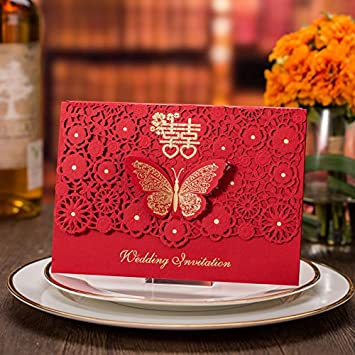 Amazon 100x chinese red happiness wedding invitation card 100x chinese red happiness wedding invitation card butterfly knot customized invitations cards with inner sheet envelope stopboris Gallery