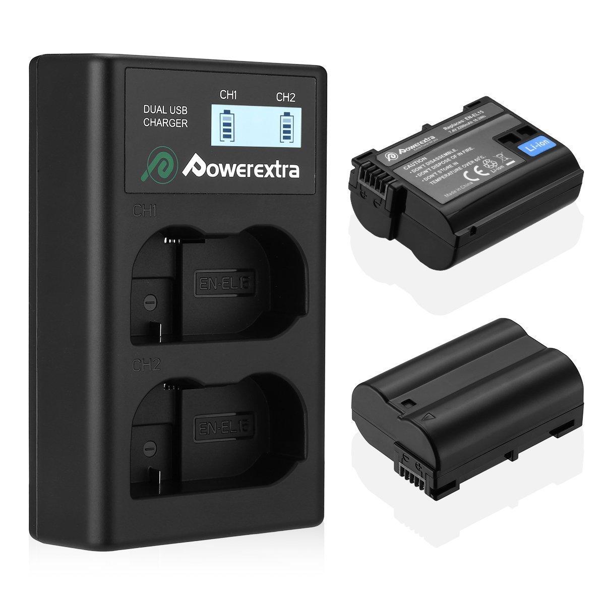 EN-EL15 Powerextra 2 x batteries and LCD Dual USB Battery Charger Compatible with Nikon D7100, D750, D7000, D7200, D7500, D810, D610, D800, D850, D600, D500, D800e, D810a, 1v1 Cameras