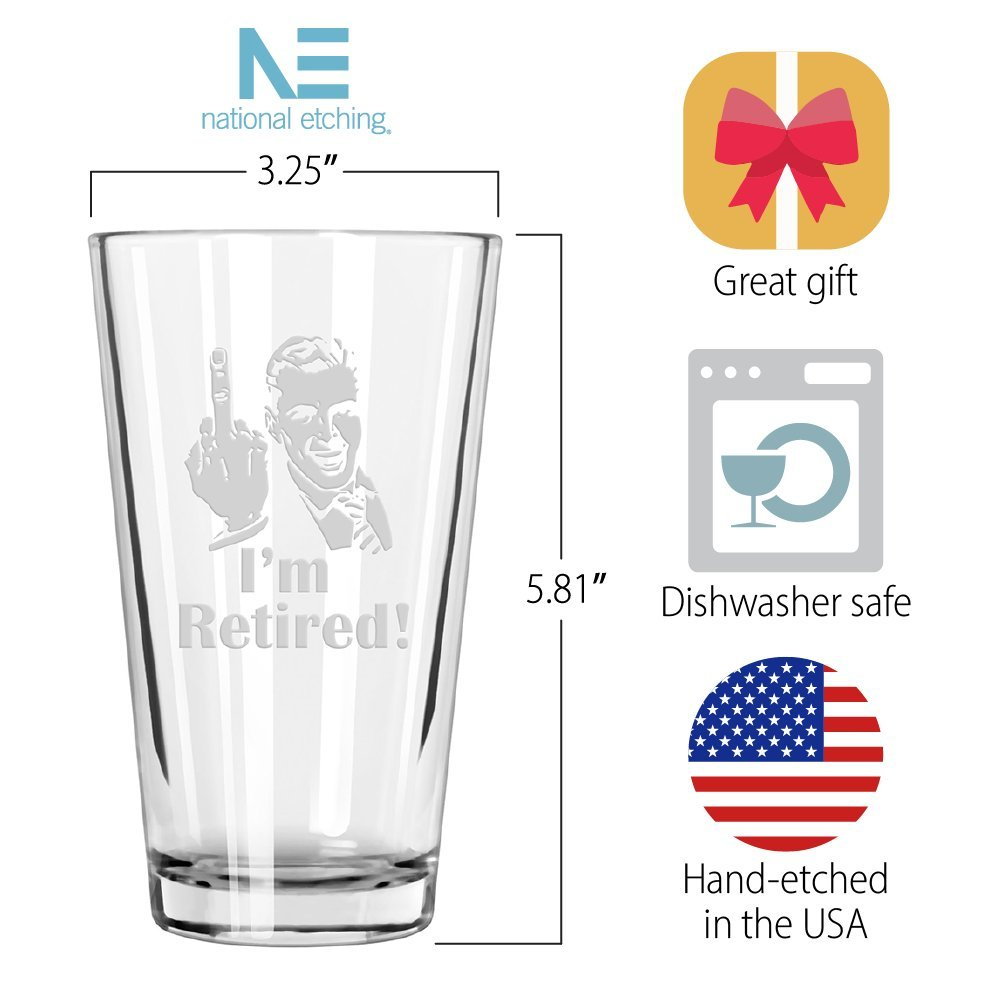 "Retirement Gift Celebration Glass, Drinking Glass for Men, Funny Beer Glasses for Retired Adult Men - ""I'm Retired!"" Pint Glass by Crass Glass (Image #7)"