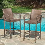 Christopher Knight Home' Delfina CKH Outdoor Bar Set, Set of 2, Mixed Mocha