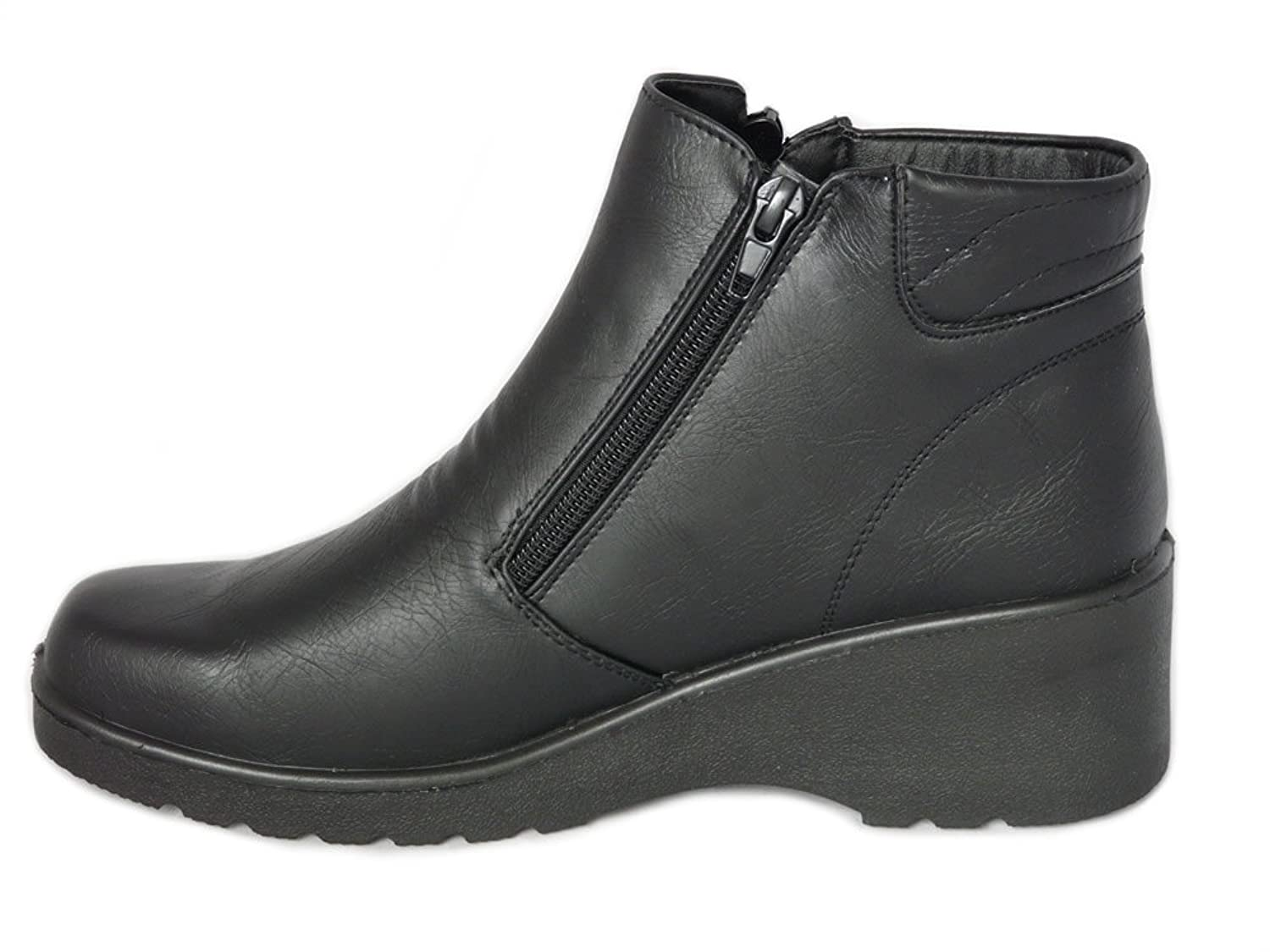 2a6b4222fe35 Cushion Walk Women s Black Low Wedge Ankle Boots with Double Zip Fastening    Non-Slip Sole - Sizes 3-8 (4 UK 37 EU)  Amazon.co.uk  Shoes   Bags