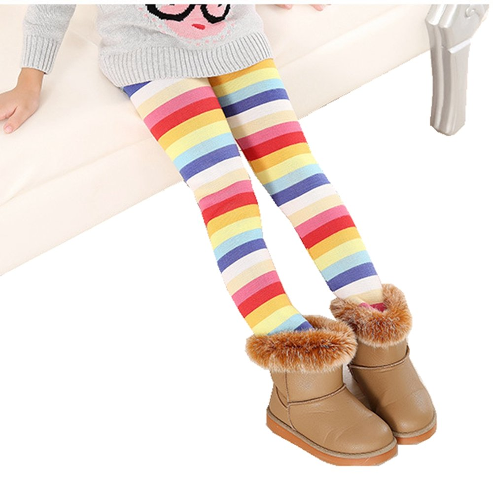 Max shape Kids Girls Rainbow Painted Leggings Warm Fleece Inner Pant 1 Pack LENG-A1105