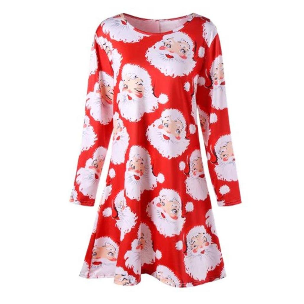 374feac06e03 Kleid Damen Minikleid, Weihnachten Sankt Drucken Kleider Weihnachtskleid  Christmas Frauen Lange Ärmel Winter RundhalsKleider Bluse Sweatshirts ...
