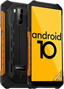 Ulefone Armor X5 Pro Rugged Cell Phones Unlocked (2020), 5.5 inch Screen, Android 10, 4GB + 64GB, 13MP + 2MP Dual Rear Cameras, Waterproof, Military Grade Smartphone, Face ID, NFC, OTG, WiFi -Orange