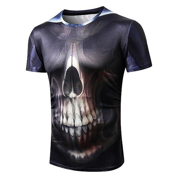Camiseta para Hombre, Moda para Hombre Cráneo 3D Camiseta de Impresión Camiseta Manga Corta Camiseta Blusa Tops: Amazon.es: Ropa y accesorios