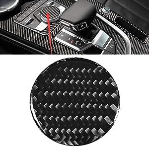 MVMTVT Interior Dash Covers for Audi A4 B9 2017-2019, Carbon Fiber Central Control Knob Cover Trim Sticker Accessory