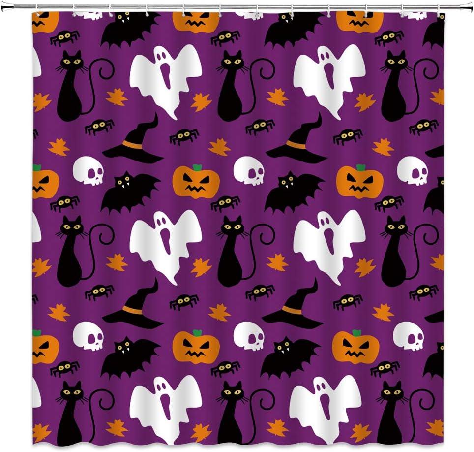 Halloween Funny Spooky Pumpkin Cat Spider Waterproof Fabric Shower Curtain Set