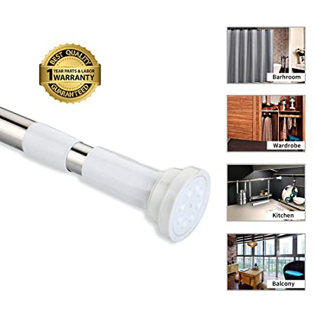BEOKREU Shower Curtain Rod Easy Installation Spring Tension Adjustable 70 120cm