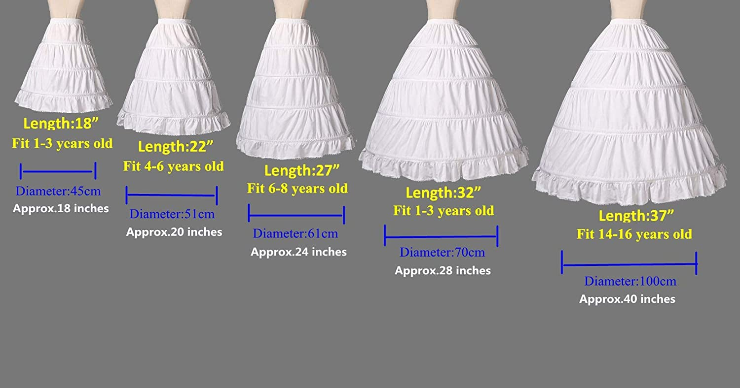 BEAUTELICATE Girls Petticoat 100/% Cotton Crinoline Underskirt for Kids Flower Dress Slips 3 4 Hoops P33 Light Ivory