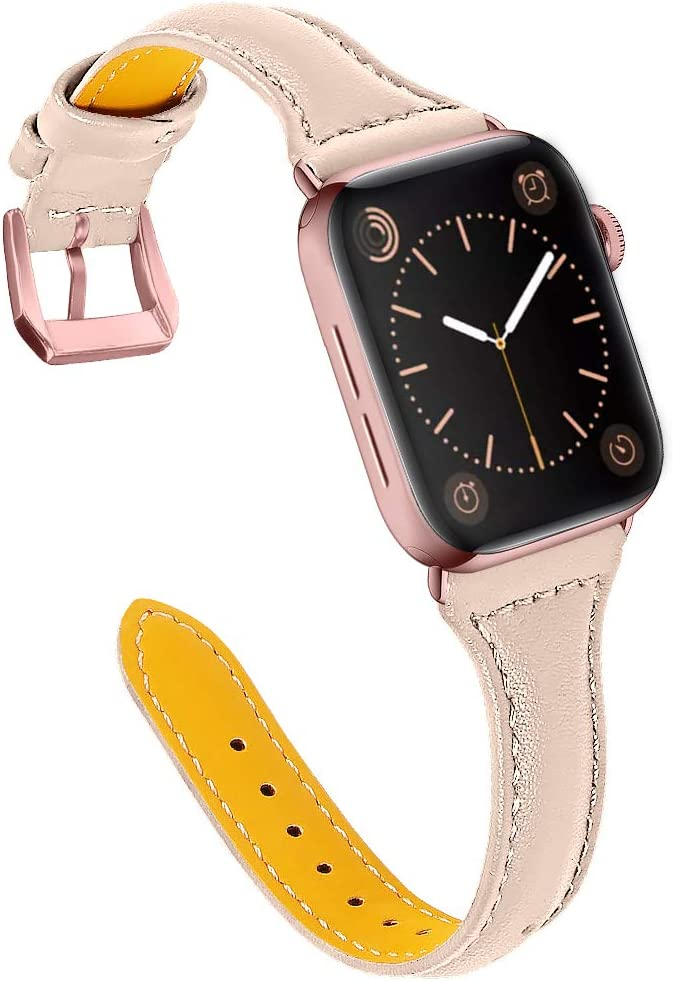 OULUCCI Compatible with Apple Watch Band 38mm 40mm, Top Grain Leather Band Replacement Strap for iWatch SE, Series 6, Series 5, Series 4,Series 3,Series 2,Series 1,Sport, Edition
