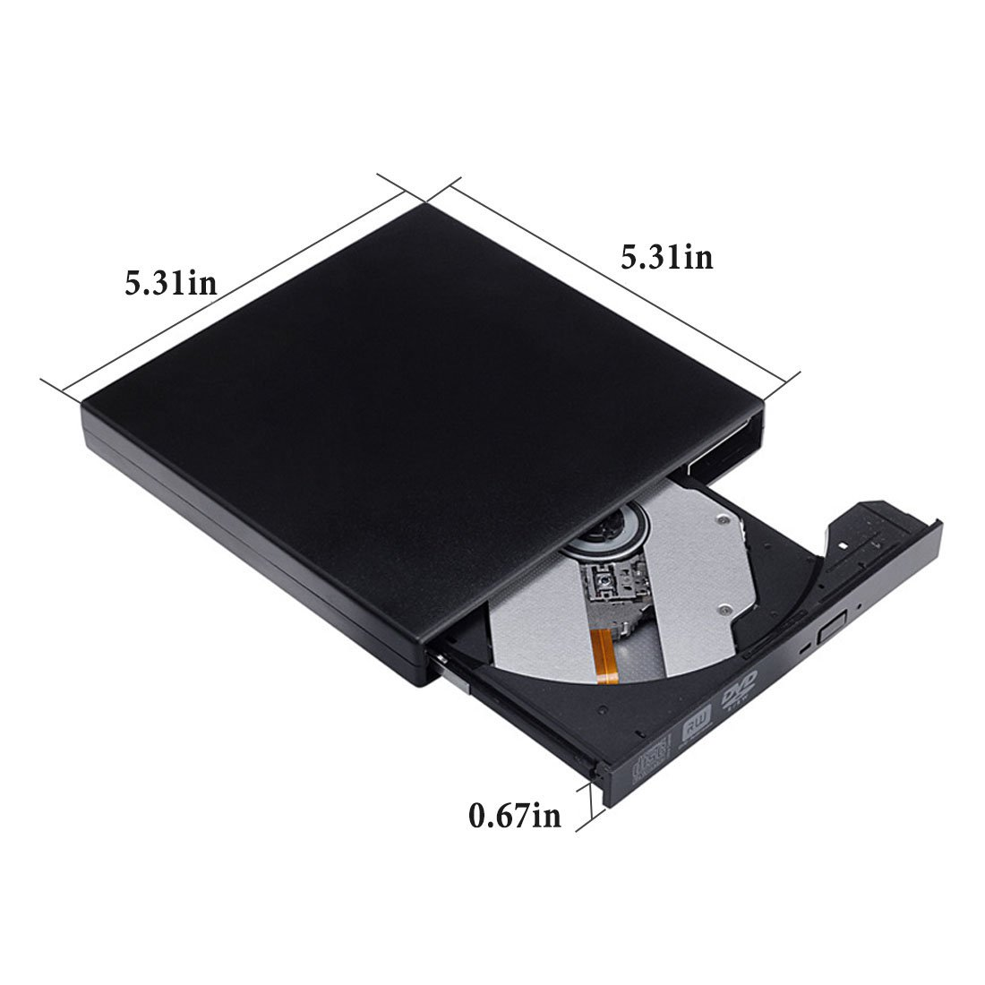 External CD DVD Drive, Sunreal External Optical Drive USB 2.0 DVD/CD Player Portable Slim High Speed Data Transfer DVD Drive for PC Computer Laptop Desktops with Windows Mac OS(Black) by Sunreal (Image #4)