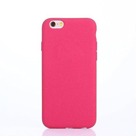 Yunbaozi Funda iPhone 6/6s Plus Carcasa Peludo TPU Sentir Fregar Rosa roja