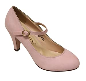 Chase & Chloe Kimmy-38 Women's almond toe geometric edge squeeky mary jane PU pumps shoes (11 B(M) US, Rose Pink)
