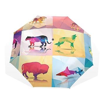 EZIOLY Paraguas de Viaje con diseño geométrico de poligón de Animales, Ligero, antirayos UV