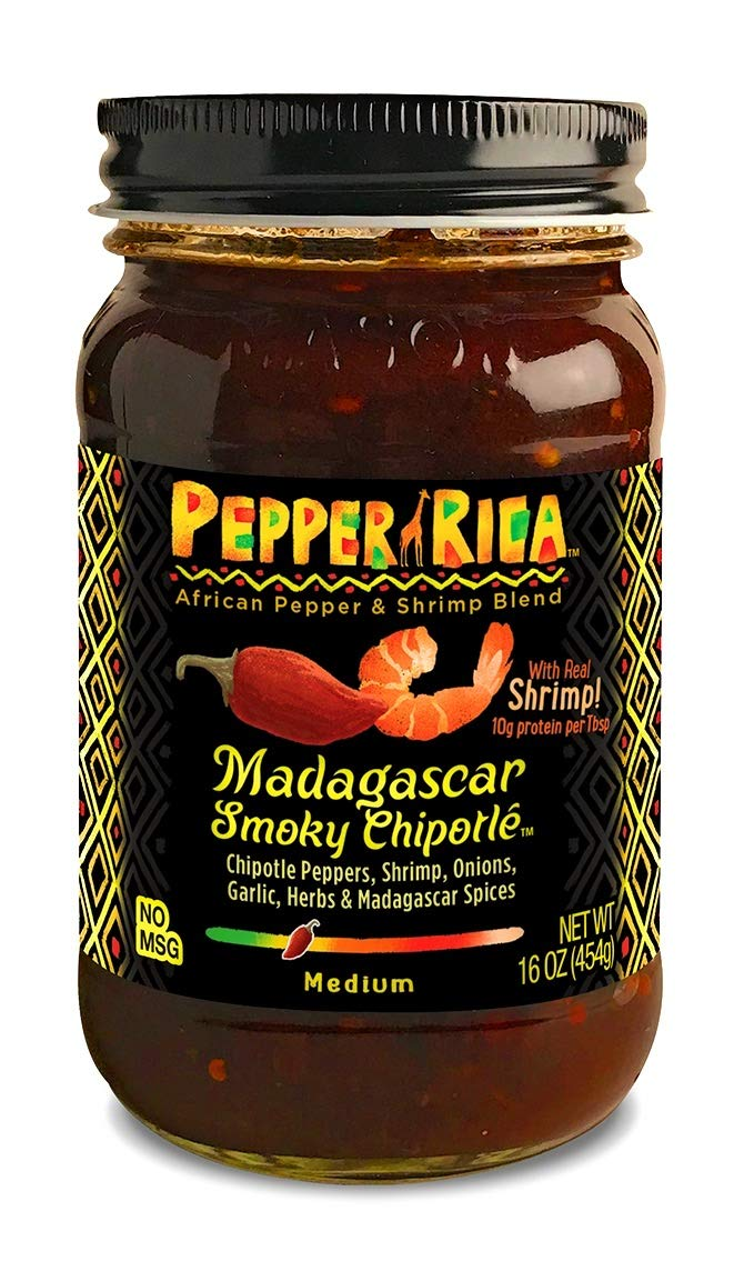 PEPPERRICA Hot Sauce, Gourmet African Hot Sauce | Shito | with CHIPOTLE peppers, Crushed Dried Shrimp and SIGNATURE MADAGASCAR SPICE BLEND. Unique Safari of Flavors in 16oz Jar
