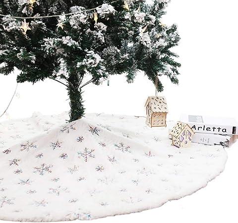 PROTAURI Arbre de No/ël Jupe Arbre Tapis Laine dagneau Doux avec Sequin Broderie Neige Couverture Couverture D/écoration Arbre Tapis Belle De Nouvel an