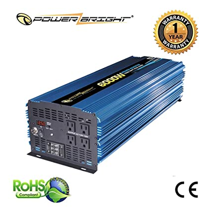 amazon com : power bright pw6000-12 power inverter 6000 watt 12 volt dc to 110  volt ac : vehicle power inverters : car electronics