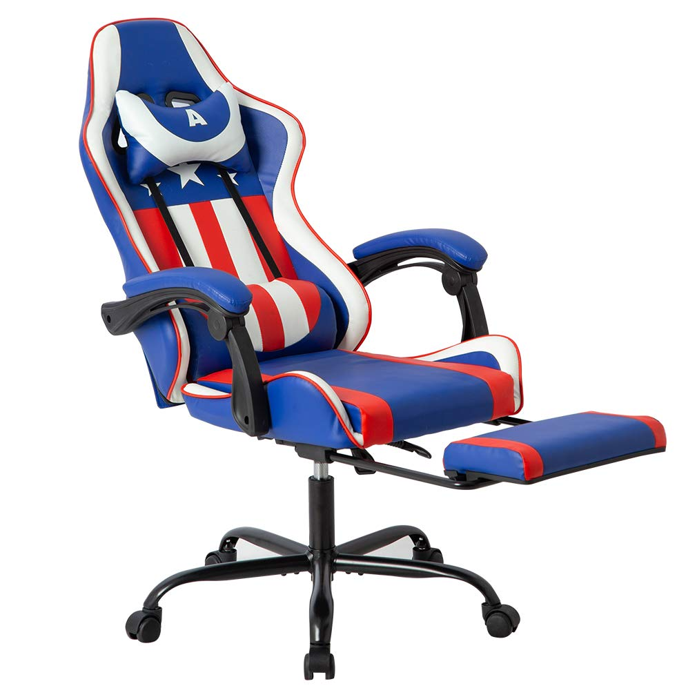 Gaming Office Racing Chair Desk Computer Ergonomic Swivel Chair with Back Support for Video Game with Footrest Lumbar and Head Support