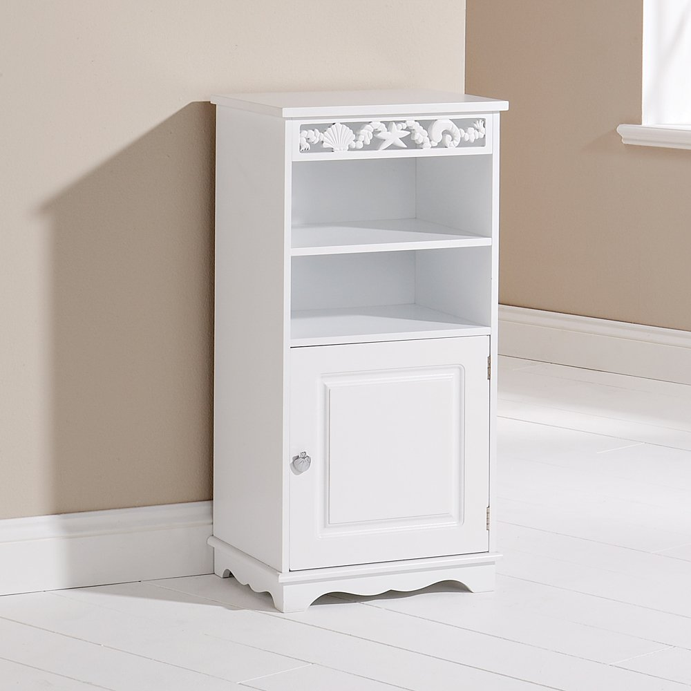 White Bathroom Cabinet Wooden Floor Cupboard 1 Door 2 Shelves Coral Design Amazoncouk Kitchen Home