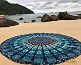 raajsee Blue Round Beach Tapestry Hippie/Boho Mandala Beach Blanket/Indian Cotton Throw Bohemian Round Table Cloth Mandala Decor/Yoga Mat Meditation Picnic Rugs 70 inch Circle