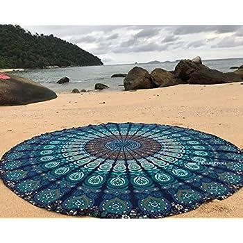 raajsee Blue Round Beach Tapestry Hippie/Boho Mandala Beach Blanket/Indian Cotton Throw Bohemian Round Table Cloth Mandala Decor/Yoga Mat Meditation Picnic Rugs 70 inch Circle