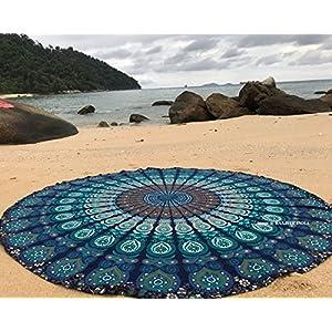 raajsee Tela Redonda de Mandala, Estilo Hippie, Indio Bohemio de Pavo Real, de algodón, Ideal como Colcha, Tapiz… | DeHippies.com