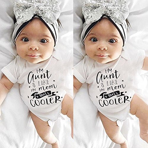 Infant Newborn Baby Bodysuit Romper, Boys Girls Short Sleeve Playsuit Outfit Clothes
