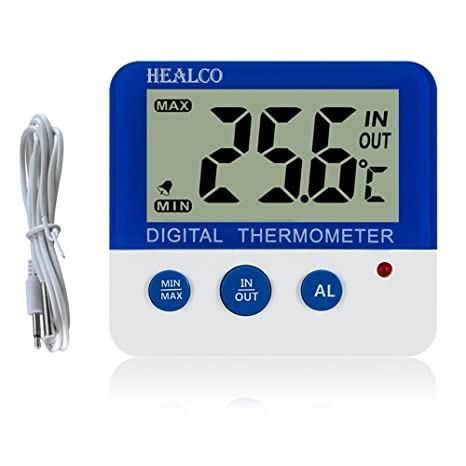 HEALCO Digital Freezer/Fridge Thermometer with Magnet and Stander Digital Refrigerator Thermometer with LED Alarm Indicator Max/Min Memory Freezer ...